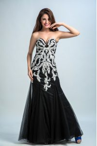 Most Popular Floor Length Black Prom Dress Sweetheart Sleeveless Zipper