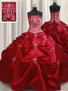 Colorful Wine Red Lace Up Strapless Beading and Pick Ups 15 Quinceanera Dress Taffeta Sleeveless