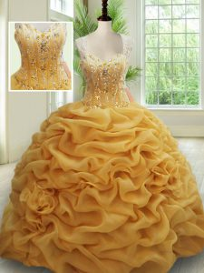 Straps Gold Sleeveless With Train Beading and Pick Ups Zipper Quinceanera Dresses