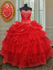 Floor Length Lace Up Vestidos de Quinceanera Red for Military Ball and Sweet 16 and Quinceanera with Beading and Ruffled