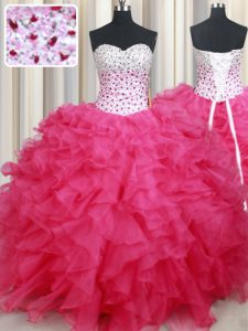 Hot Pink Sleeveless Floor Length Beading and Ruffles Lace Up Quinceanera Gowns