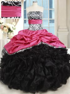 Glamorous Pink And Black Strapless Neckline Beading and Ruffles Sweet 16 Dress Sleeveless Lace Up