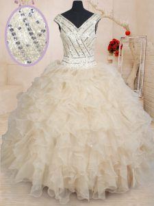Custom Made Champagne Ball Gowns Organza V-neck Cap Sleeves Beading and Ruffles and Sequins Floor Length Zipper Sweet 16