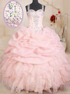 Beauteous Organza Straps Sleeveless Zipper Beading and Ruffles and Pick Ups Quinceanera Gowns in Baby Pink