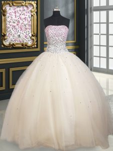 Superior Champagne Lace Up Quince Ball Gowns Beading Sleeveless Floor Length
