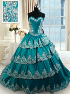 Beading and Embroidery and Ruffled Layers Quinceanera Dress Teal Lace Up Sleeveless Floor Length