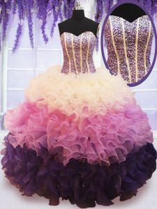 Fine Organza Sweetheart Sleeveless Lace Up Beading and Ruffled Layers Sweet 16 Dress in Multi-color