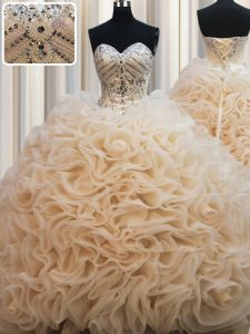 Sleeveless Brush Train Beading Lace Up Quince Ball Gowns