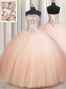 Peach Sleeveless Floor Length Beading Lace Up Quinceanera Dresses