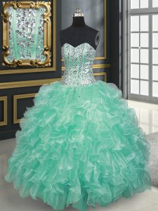 Luxurious Apple Green Organza Lace Up Sweetheart Sleeveless Floor Length Quinceanera Gown Beading and Ruffles
