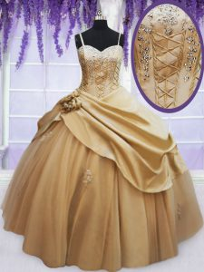 Enchanting Floor Length Champagne Quinceanera Dress Spaghetti Straps Sleeveless Lace Up