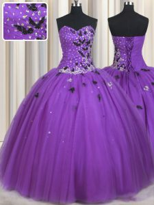 Floor Length Lace Up Sweet 16 Dresses Eggplant Purple for Military Ball and Sweet 16 and Quinceanera with Beading and Ap
