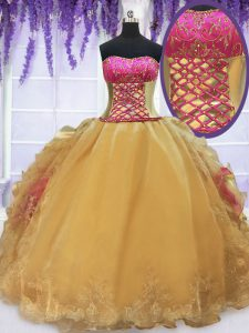 Pretty Strapless Sleeveless Lace Up Sweet 16 Quinceanera Dress Gold Organza and Taffeta