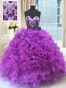 Dramatic Eggplant Purple Organza Lace Up Vestidos de Quinceanera Sleeveless Floor Length Beading and Ruffles