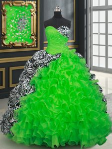 Printed Lace Up Quinceanera Gowns for Military Ball and Sweet 16 and Quinceanera with Beading and Ruffles and Pick Ups B