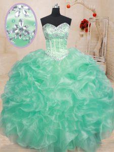 Apple Green Lace Up Sweet 16 Dresses Beading and Ruffles Sleeveless Floor Length