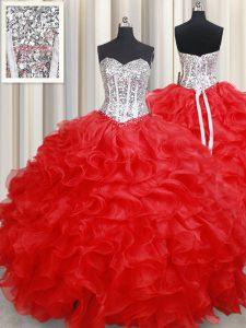 Red Sweetheart Lace Up Beading and Ruffles Sweet 16 Dress Sleeveless