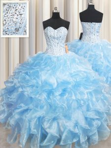 Floor Length Light Blue Sweet 16 Quinceanera Dress Sweetheart Sleeveless Lace Up