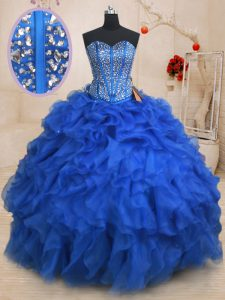 Custom Design Sleeveless Floor Length Beading and Ruffles Lace Up 15th Birthday Dress with Royal Blue