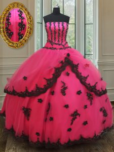 Super Hot Pink Lace Up Sweet 16 Dress Beading and Appliques Sleeveless Floor Length