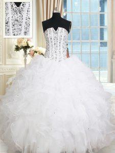 Sleeveless Sweet 16 Dress Floor Length Beading and Ruffles White Organza