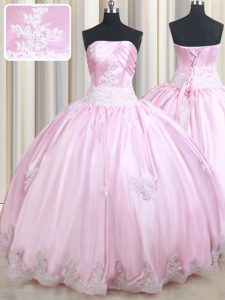 Suitable Baby Pink Taffeta Lace Up Strapless Sleeveless Floor Length Ball Gown Prom Dress Appliques