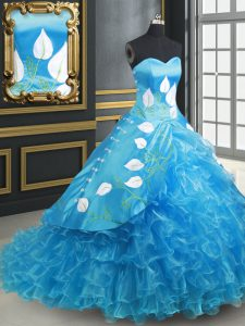 Baby Blue Organza and Taffeta Lace Up Quinceanera Gowns Sleeveless With Brush Train Embroidery and Ruffled Layers
