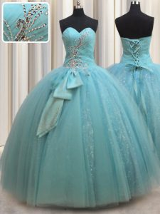 Aqua Blue Sleeveless Beading and Bowknot Floor Length Quinceanera Gown