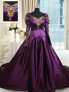 Dark Purple A-line Taffeta Off The Shoulder Long Sleeves Beading and Embroidery With Train Zipper Quinceanera Gown Chape