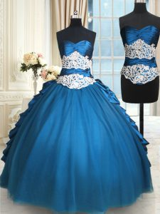 Dynamic Sweetheart Sleeveless Lace Up Sweet 16 Dress Teal Taffeta and Tulle