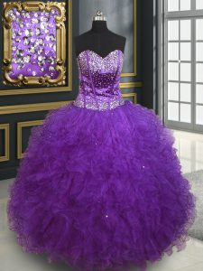 Luxurious Eggplant Purple Ball Gowns Tulle Sweetheart Sleeveless Beading and Ruffles Floor Length Lace Up Quinceanera Dr