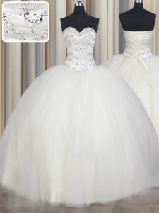 Cheap Sleeveless Floor Length Beading Lace Up 15 Quinceanera Dress with White