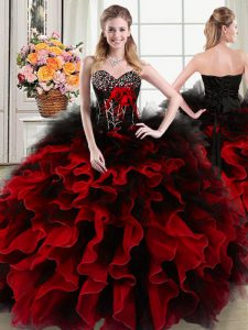 Black and Red Organza and Tulle Lace Up Sweet 16 Dresses Sleeveless Floor Length Beading and Ruffles and Hand Made Flowe