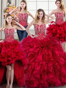 Classical Four Piece Sweetheart Sleeveless Brush Train Lace Up Quince Ball Gowns Red Organza