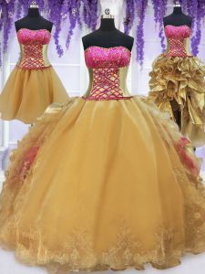 Dramatic Four Piece Hot Pink and Gold Organza and Taffeta Lace Up Sweet 16 Dress Sleeveless With Brush Train Beading and