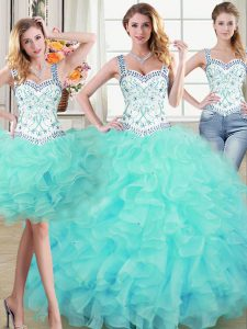 Three Piece Straps Floor Length Ball Gowns Sleeveless Aqua Blue Ball Gown Prom Dress Lace Up