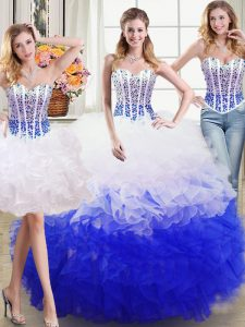Fantastic Three Piece Floor Length White and Blue Sweet 16 Dresses Sweetheart Sleeveless Lace Up