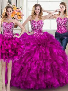 Simple Three Piece Sweetheart Sleeveless Organza Quinceanera Gown Beading and Ruffles Brush Train Lace Up