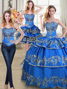 Three Piece Sleeveless Taffeta Floor Length Lace Up 15th Birthday Dress in Blue with Beading and Embroidery and Ruffled
