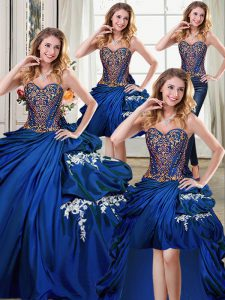 Four Piece Royal Blue Ball Gowns Sweetheart Sleeveless Taffeta Floor Length Lace Up Beading and Appliques and Pick Ups 1