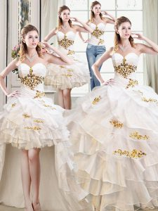 Smart Four Piece Sweetheart Sleeveless Organza Quince Ball Gowns Beading and Ruffles Lace Up