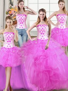 Glamorous Four Piece Floor Length Fuchsia Quinceanera Dresses Tulle Sleeveless Beading and Appliques and Ruffles
