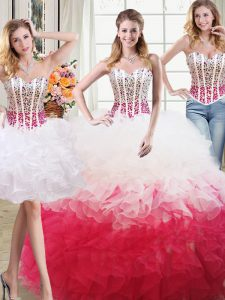 Custom Fit Three Piece White and Red Sleeveless Beading and Ruffles Floor Length Quinceanera Dress