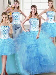 Graceful Four Piece Light Blue Sleeveless Tulle Lace Up Quince Ball Gowns for Military Ball and Sweet 16 and Quinceanera