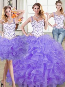 Straps Sleeveless Lace Up Quinceanera Dresses Lavender Organza