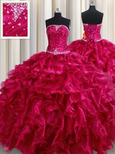 Inexpensive Fuchsia Ball Gowns Strapless Sleeveless Organza Floor Length Lace Up Beading and Ruffles Vestidos de Quincea
