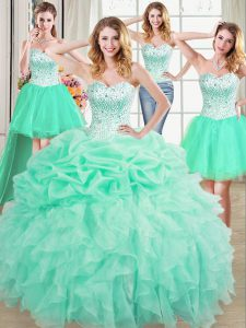 Elegant Four Piece Sleeveless Organza Floor Length Lace Up Sweet 16 Dress in Apple Green with Beading and Ruffles and Pi
