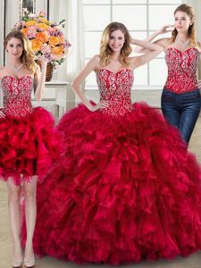 Custom Designed Three Piece Red Sweetheart Lace Up Beading and Ruffles Quinceanera Dresses Brush Train Sleeveless