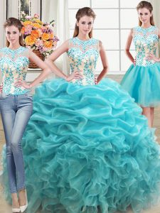 High Class Three Piece Aqua Blue Scoop Lace Up Beading and Ruffles Sweet 16 Dress Sleeveless