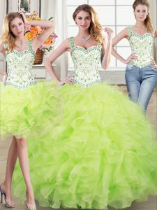 Dramatic Three Piece Yellow Green Lace Up Straps Beading and Lace and Ruffles Sweet 16 Quinceanera Dress Organza Sleevel